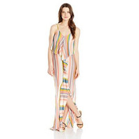 O'Neill Juniors Skylar Stripe Knit Maxi Dress with Front Fuffle
