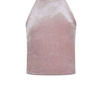 Teens Pink Velvet High Neck Cami
