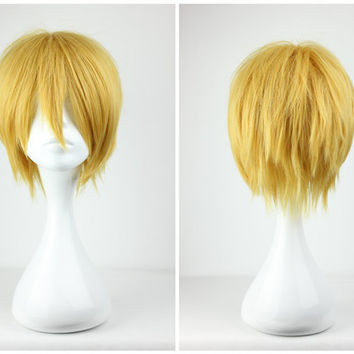 Promotion Kuroko no Basuke Kise Ryota 32cm Short Gold Classical Man Boy Anime Cosplay Wig,Colorful Candy Colored synthetic Hair Extension Hair piece 1pcs WIG-175A