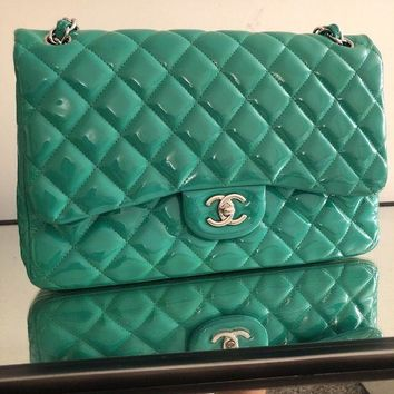 DCCKU7Q Chanel Patent Leather Quilted Bag Authentic