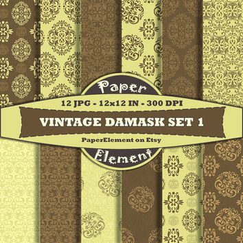 Digital Paper Pack Vintage Damask Instant Download for Personal or Commercial Use and Digital Scrapbook Paper