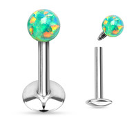 Fire Opal Green Labret Ring Cartilage Tragus Body Jewelry 16 ga 316L Surgical Steel Body Jewelry