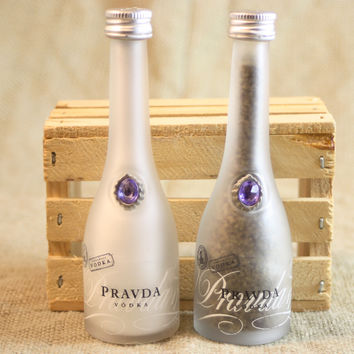 Salt & Pepper Shaker from Upcycled Glass Provda Vodka Mini Liquor Bottles