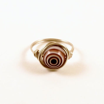 Purple and White Bullseye Ring Size 8 Wire Wrapped Ring