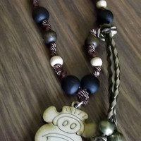 Vinal Chen Maya. Maya lunar calendar. Along with sandalwood, wood and silk thread necklace. Charm wood pyrography Chen.