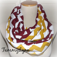 Maroon & Gold Mustard Chevron 2 Pair Team Colors Jersey Knit Infinity Scarves USC Arizona Florida State Redskins Game Day Team Scarf