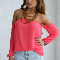Off Shoulder Top - Coral