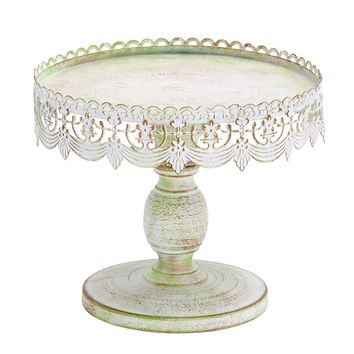 Decorative Traditional Style Metal Cake Stand, White -Benzara