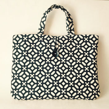 Laptop Tote Bag, Custom 13 inch or Mac Book Air, Pro Retina Padded Case, MacBook Handbag Purse Handles Carrier Black Geometric Sac Men Women