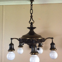 Vintage Victorian Pan Chandelier 5 Arm Ornate Beautiful Original Condition 1920s Rewired