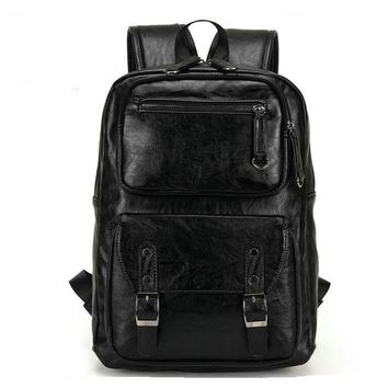 2017 European and American style Solid men Genuine Leather backpack shoulder bag Schoolbag computer Travel bag women backpack