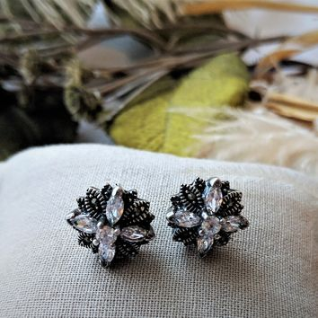 Vintage CFJ Sterling Silver CZ Marcasite Floral Stud Earrings