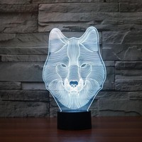 Animal Wolf Decor 3D LED Nightlights Colorful Wolf Design Table Lamp teen wolf Illusion Lights Bedroom Modern Decor