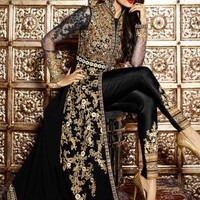 Malaika Black and Gold Embroidered Anarkali Pant Suit