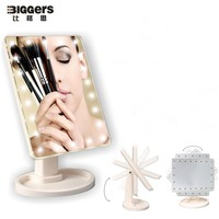 Free shipping Rotatable touch screen 22 lamps LED makeup mirror large size Beauty table mirror Pink/white/black color