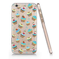 Cute Cupcake Food Pattern Clear Transparent Plastic Phone Case for iphone 6 6s _ SUPERTRAMPshop (iphone 6)