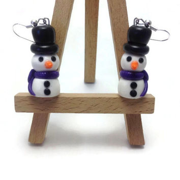 Snowmen Earrings, Polymer Clay Jewelry, Snowman Earrings, Christmas Earrings, Kawaii Jewelry