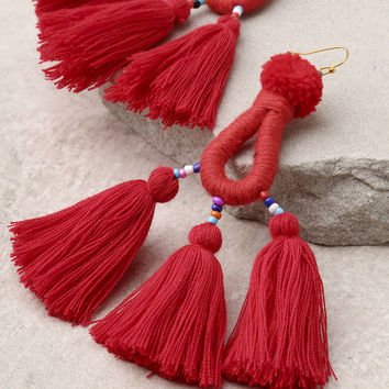 Paint the Town Red Tassel Earrings