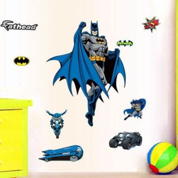 PEAPUG3 The Hero Batman Large Wall Sticker Decals Removable Art Kids Nursery Decor Room ZY9910 (Size: 90 cm, Color: Blue)