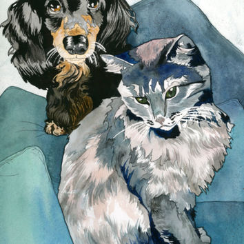 Custom Pet Art, Custom Pet Painting Multiple Pets, Pet Portrait Custom Art, Custom Watercolor Art, Custom Dog Painting, Custom Cat Painting