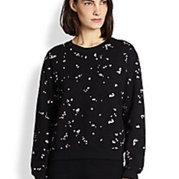 Carven - Petal-Embroidered Sweatshirt - Saks Fifth Avenue Mobile