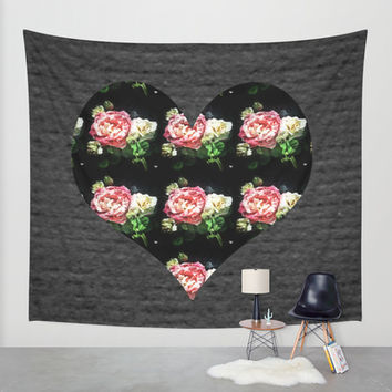 Simple Heart Floral Wall Tapestry by DuckyB (Brandi)