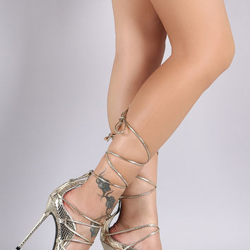 Snake Scallop Lace Up Stiletto Pump