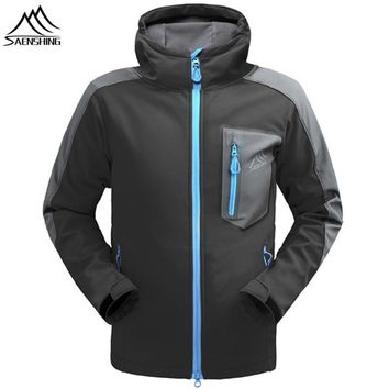 SAENSHING Waterproof Softshell Jacket Men Breathable Rain jacket Fleece Windstopper Hiking Outdoor Coat Camping hunting clothes