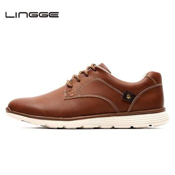 LINGGE Brand New Men Shoes, Design Warm Fur Winter Shoes Men Boots, Faux Leather Lace Up Casual Shoes Men, #IL007-2