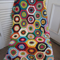 ON SALE - 10% OFF Granny Square Crochet Blanket...Baby Crochet Blanket...Colorful Knitting Patchwork Afghan...Lap blanket