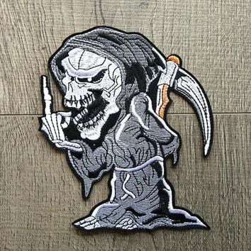 Grim Reaper Skull Embroidered Patches Iron On