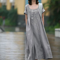 2016 Spring and summer women's cotton and linen dress European and American plus-size loose casual dress artistic dress vestidos