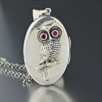Silver Ruby Owl Locket Pendant Necklace