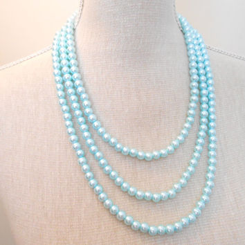 Multi strand glass pearl necklace, choose the color for your wedding, bridesmaid, bride and bridal shower gifts, Great for daughter, mom