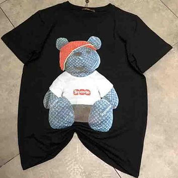 SUPREME & LV Joint Limited Edition Men and Women Fashion Bear Cub T-shirt F-AA-SYSY Black