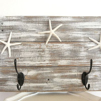 Rustic wood Coat rack Towel hook rack Nautical Coastal Starfish Beach Decor wall hooks Wall mounted hanging white weathered hanger