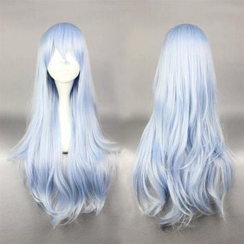 75cm Long Light Blue Cosplay Anime Kantai Collection:KanColle Hibiki Wig,Colorful Candy Colored synthetic Hair Extension Hair piece 1pc WIG-577F