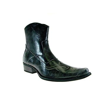 Men's M1763 Westren Tribal Design Calf High Boots
