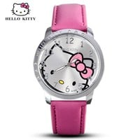 Hello Kitty Watch Women Girls Quartz Cartoon Leather Cute 3D Crystal Fashion Wristwatch