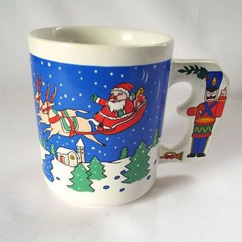 Christmas Coffee Mug Tin Soldier Drum Reindeer Snow Santa Sleigh Holiday Cup