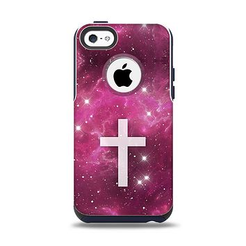 The Vector White Cross v2 over Glowing Pink Nebula Apple iPhone 5c Otterbox Commuter Case Skin Set
