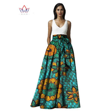 BRW Bazin Riche African Fabric Print Skirts for Women Plus Size Dashiki African Style Clothing Long Maxi Ball Gown Skirts WYD15