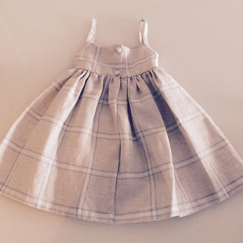 Girls Natural Plaid  Linen Dress by ABY'S KIDS