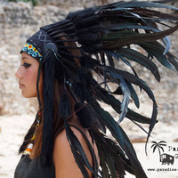All Black Large Feather Crown Headdress