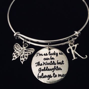The World's Best Goddaughter Belongs to Me Adjustable Bracelet Expandable Silver Charm Bangle Butterfly Initial Charm One Size Fits All