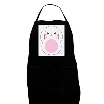 TooLoud Cute Bunny with Floppy Ears - Pink Panel Dark Adult Apron