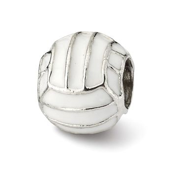 Sterling Silver and Enameled Volleyball Bead Charm