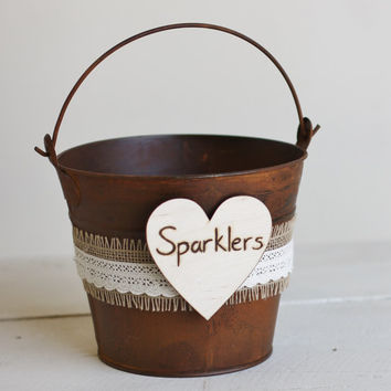 Wedding Sparklers Bucket  Rustic Wedding Decor by braggingbags