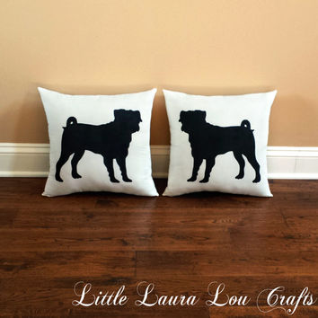 Pug Throw Pillow Set (set of 2), Decorative Pillows, Home Decor, Housewarming Gift, Pets, Dog Pillow, Couch Pillows, Dorm **FREE SHIPPING**