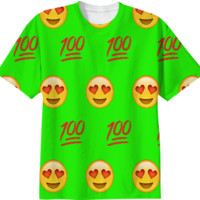 Lime Green/Emoji T-Shirt created by trilogy-anonymous | Print All Over Me
